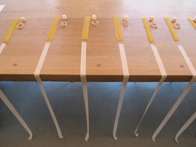Spaghetti, tape, string, marshmallow